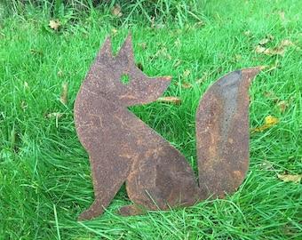 Fox Rusty / Patina, Mild Steel Metal Garden / Yard / Pond Art, Ornaments
