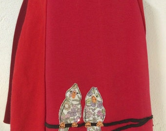 T-Skirt (Kids) | upcycled, recycled red t-shirt skirt with birds appliqué