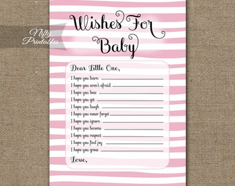 Pink Wishes For Baby Game - Pink Baby Shower Game - Printable Pink & White Stripe Baby Wishes Game DSP