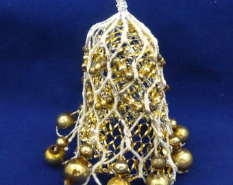 Vintage Holiday Bell with Mesh and Mercury Glass Beads