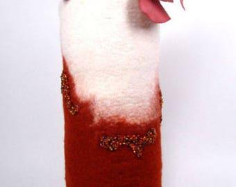 Teracotta and Cream Eco Friendly Felt Vase  in 100%  Merino Wool