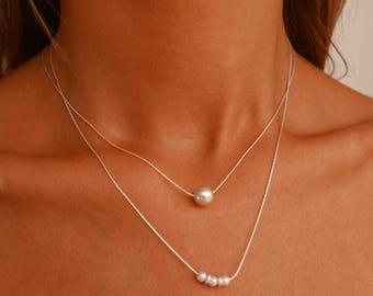 Silver Layered Necklace - Multi Layer Necklace - Double Necklace - Silver Beaded Necklace - Bead Pendant Necklace - Boho Necklace Set