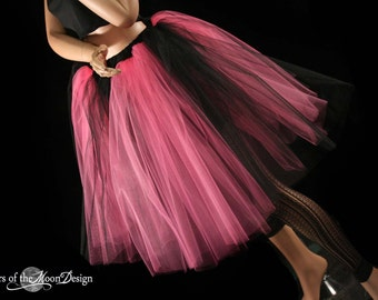 Gothic Adult tutu Pink Black Romance skirt petticoat extra poofy knee length with underskirt bridal - You choose Size -  Sisters of the Moon