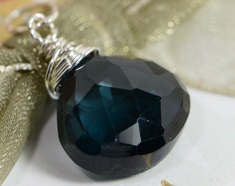Large Stone London Blue Topaz Pendant Wire Wrapped On Sterling Silver Jewelry Birthstone Jewelry