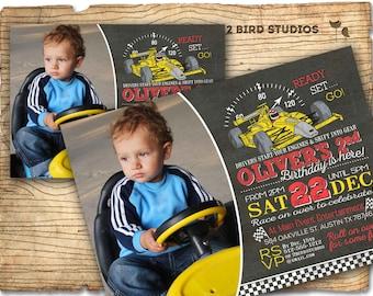 Race car invitation - Race car birthday invitation - Boys birthday invitation - Chalkboard race car party invite - You print vintage style