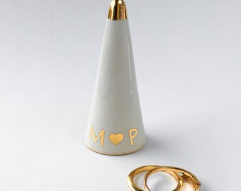 Personalized Ring Cone - White and Gold Ring Holder, Valentine's Day, Anniversary, Engagement Bridesmaid Gift, Wedding Favor