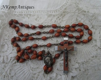 Lourdes wooden rosary 1930's