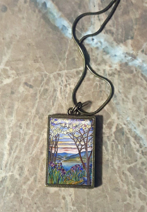 Stained Glass - Transparent Rectangle Frame - Choose Your Pendant