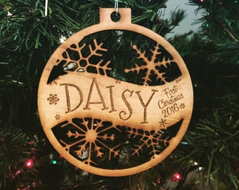 Daisy - Customizable Baby's First Christmas Ornament - Engraved Birch Wood Ornament