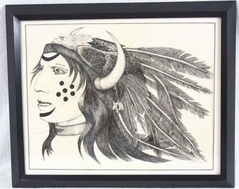 James Harris 14x18 Incredible Ink Drawing Native American Indian Man Eagle Portrait