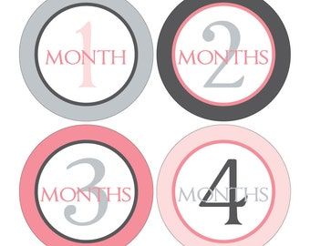12 Monthly Baby Milestone Waterproof Glossy Stickers - Just Born - Newborn - Weekly stickers available - Design M016-03