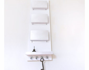 MAIL ORGANIZATION CENTER: Chic Modern Mail Holder with Shelf and Key Hooks, Wooden Wall Mounted Organizer with Metal Accents, Handmade.