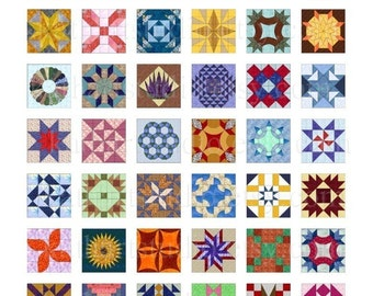 Instant Download - Quilt Blocks Collage Sheet - 1 inch squares for pendants, stickers, tiles, magnets, scrapbooking. 92