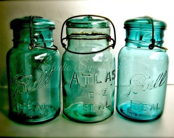 "Kitchen Photography, Country Kitchen Art, Mason Jar Print, Turquoise Art, Shabby Cottage Farmhouse Rustic Decor, Old Jars- ""Aqua Nostalgia"""
