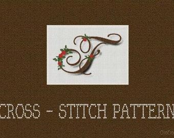"DIY, Cross stitch pattern, Alphabet, Letter F, 5.9"" x 4.2"" ( 15.1 cm x 10.6"" cm), 14 Ct. Aida, 83 x 59 crosses, DMC,"