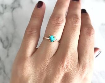 Turquoise Ring, Gold Gemstone Ring, December Birthstone Ring, Rose Gold Ring, Engagement Ring for Women, Anniversary Ring