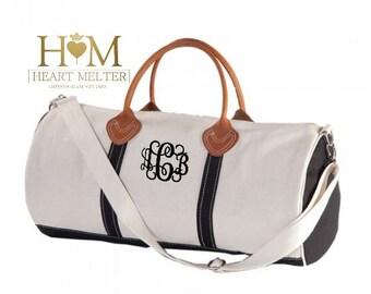 Monogrammed Round Duffle Bag - Monogrammed Travel Bag - Monogrammed Overnight Bag - Carry ON Bag - Bridal Gift