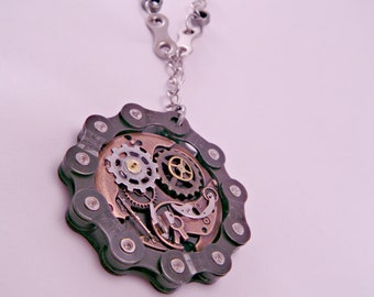Industrial Steampunk Bike Chain and Watch Part Necklace on 24 Inch Recycled Chain