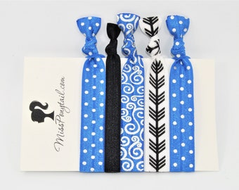 Elastic Hair Ties, Blue, Black, Arrows, Silver, Swirls, FOE Hair Ties, Hair Accessories, Ponytail Holder, Knotted Hair Ties missponytail