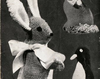 Vintage Rabbit Cat Penguin Toys Knitting Pattern PDF 549 from WonkyZebra and ToyPatternLand