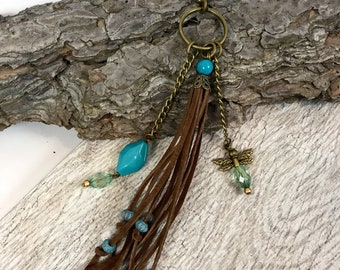 "Large brown & turquoise suede leather beaded purse handbag tassel charm keychain fob 6"" dragonfly"