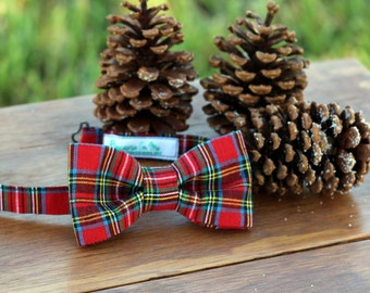 Men's Bow Tie - Handsome Christmas Red Plaid Bowtie for men boys | Christmas bow tie | plaid bow tie | mens bow tie gift | pre-tied tie