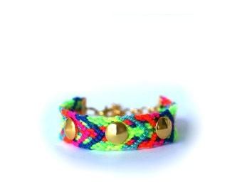 Studded Electric Neons Friendship Bracelet.
