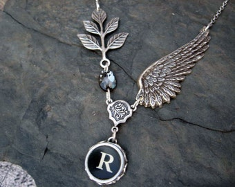 Typewriter Jewelry Letter R With Wings and Swarovski