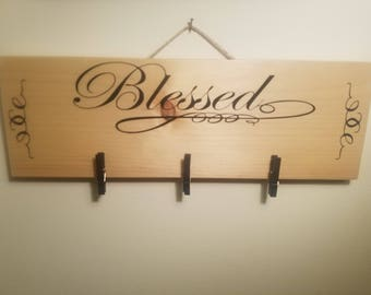 10x4 Blessed Natural Pine Sign