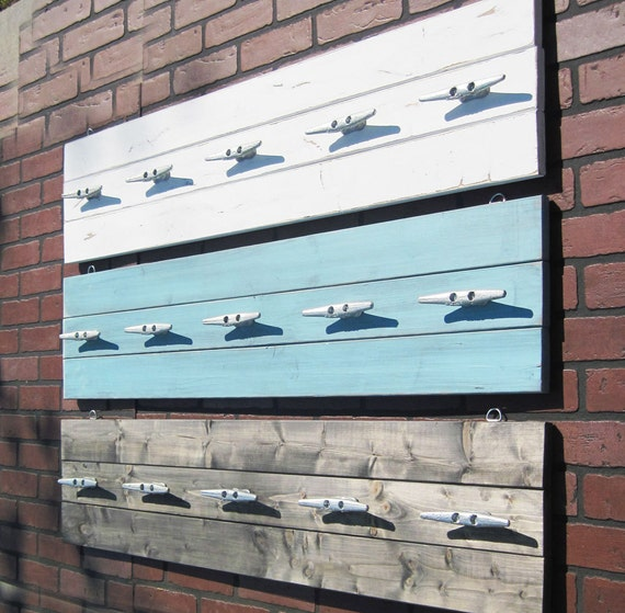 Pool Towel Sign With Hooks: 4 Foot Plank Coat Rack With Five Galvanized Boat Cleats YOU