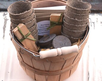 Herb Seed Kit, Deluxe Herb Garden Set, 12 Varieties of Herb Seeds, Gardening Gift, Seed Starting Supplies in Gift Basket, Hostess Gift