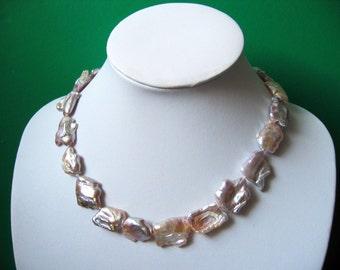 Gorgeous Extra Large Lavender Biwa Freshwater Pearl  Nuggets Necklace