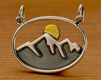 Sterling Silver, Mountain and Sun, Mountain Pendant, Bronze Sun, Oval Pendant, Mixed Metal Pendant, Silver Mountain, Western Jewelry