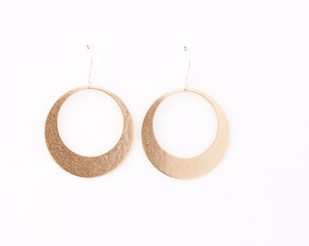 "Sleek hoop earrings handmade with embossed brass and french earwires, comfortable and lightweight - ""Lunar Hoops in Brass"""