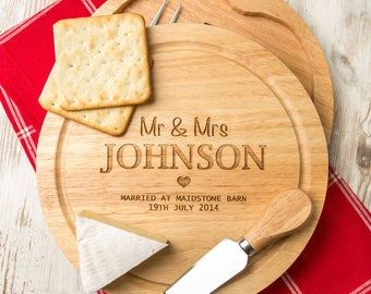Personalised Cheese Board and Knife Gift Set Personalised Wedding Anniversary Gift for Couples