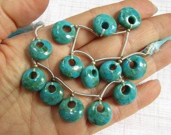 Natural Turquoise Briolette Beads Round 14mm,  Campitos Mine Arizona Mexico Border, Vivid Blue Gemstone