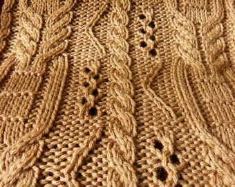 """Pattern to Knit  """"Copious Cables"""" Scarf DK Weight yarn  PDF"""