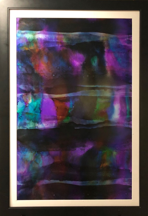 """Large Original Alcohol Ink Abstract: """"Blinded Faith"""" (23"""" x 35"""")"""