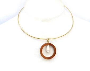 Modern choker, Ring Necklace, Gold Choker, Minimalist necklace, Geometric Choker, Wood jewelry, Dainty circle necklace, Gift for her, U4