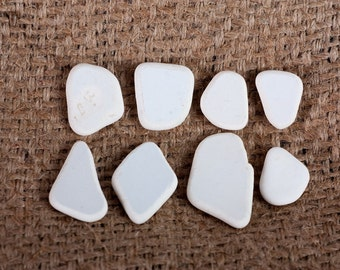 white Beach pottery sea glass pottery craft and jewelry supplies (7) decor, white aquarium pottery, mosaic pottery