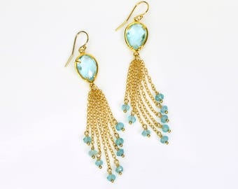 Custom stone cascade boho earrings, Mothers day Gift For her Cascade Earrings Dangle Earrings Girlfriend Gift For Her, Wife Gift For Wife