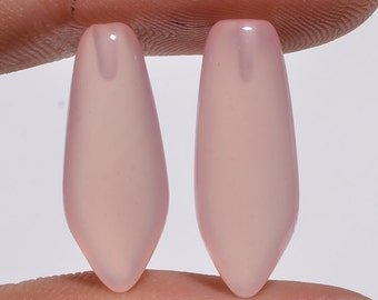 1 Pair Pink Chalcedony Smooth Fancy Shape Long Elogated Half Drilled Stone for Earrings Natural Gemstone-Size : 8mm x 20mm