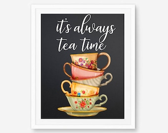 But first tea, tea poster, but first tea print, but first tea cup, tea wall art, tea sign, tea cup print, tea is always. floral teapot, tea