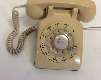 60s Vintage Fleshed toned tan  Rotary Dial Telephone Phone
