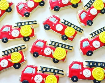 Fire truck/fireman/fireman gift/birthday/fireman party/fire truck birthday/firefighter/firefighter/cookies/sugar cookies/custom cookies