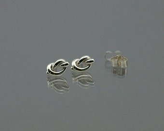 Tiny lovers knot stud or pole earrings hand-made in solid 925 sterling silver