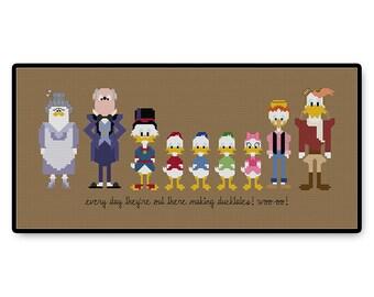 Ducktales - Cross Stitch PDF Pattern - kids show TV gift cartoon Huey, Dewey, Louie Scrooge McDuck 80's Classic