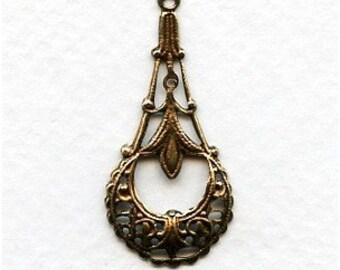 LuxeOrnaments Oxidized Brass Filigree Drop Pendant 35x16mm (2 pcs) BA88-VJS
