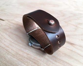 Horween Chromexcel Pass Through watch strap, Timex Weekender 16mm 18mm 20mm 22mm 24mm, button stud