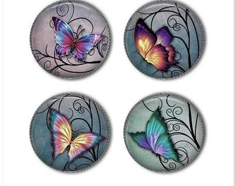 Butterfly magnets or butterfly pins, refrigerator magnets, fridge magnets, office magnets (2)